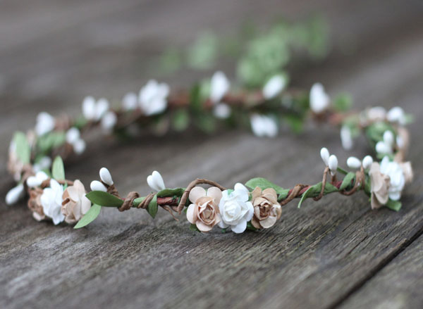 Earth Tone Flower Crown Boho Rustic Wedding Bohemian Bridal